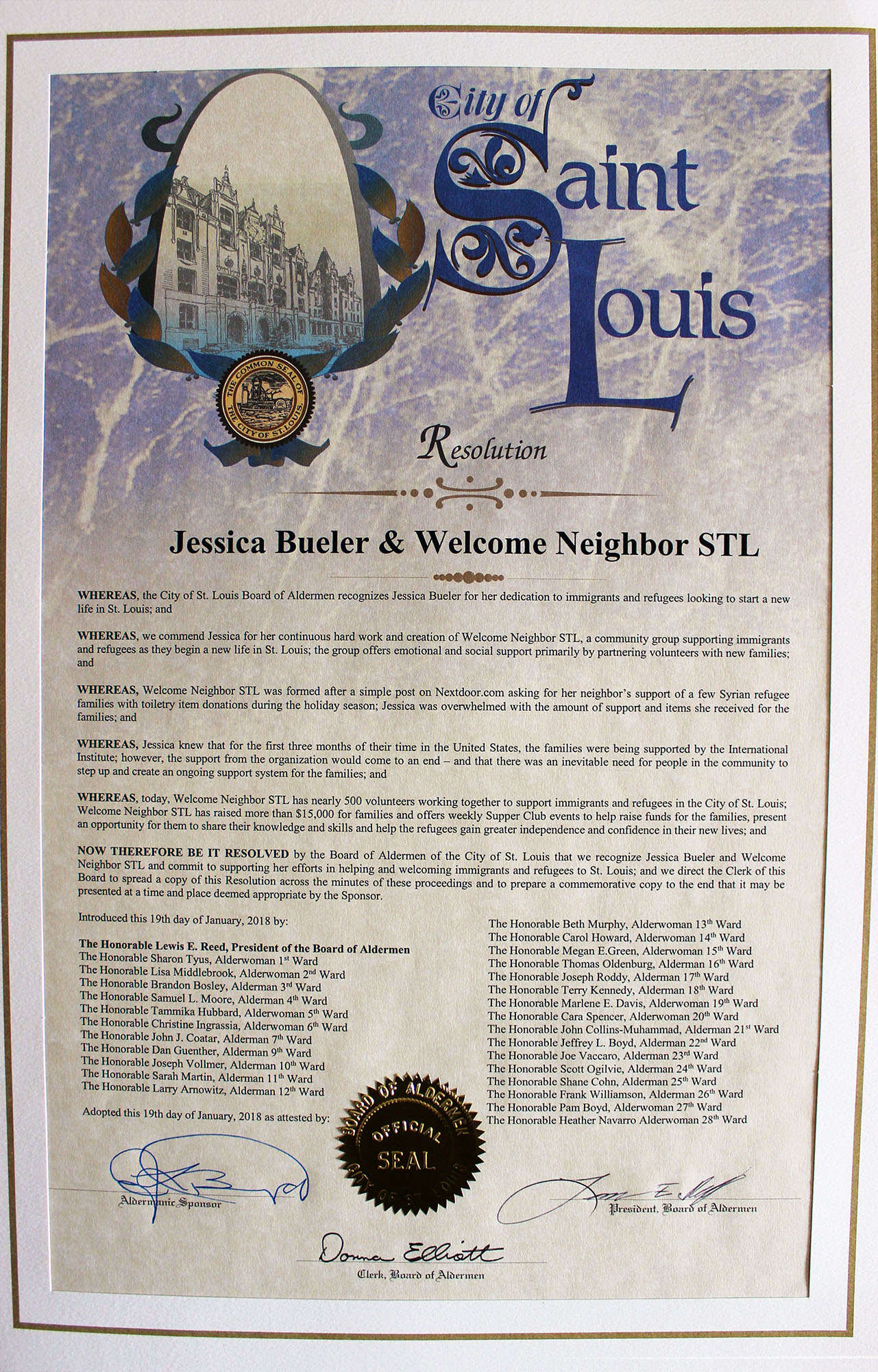 City of St. Louis Resolution for Jessica Bueler & Welcome Neightbor STL