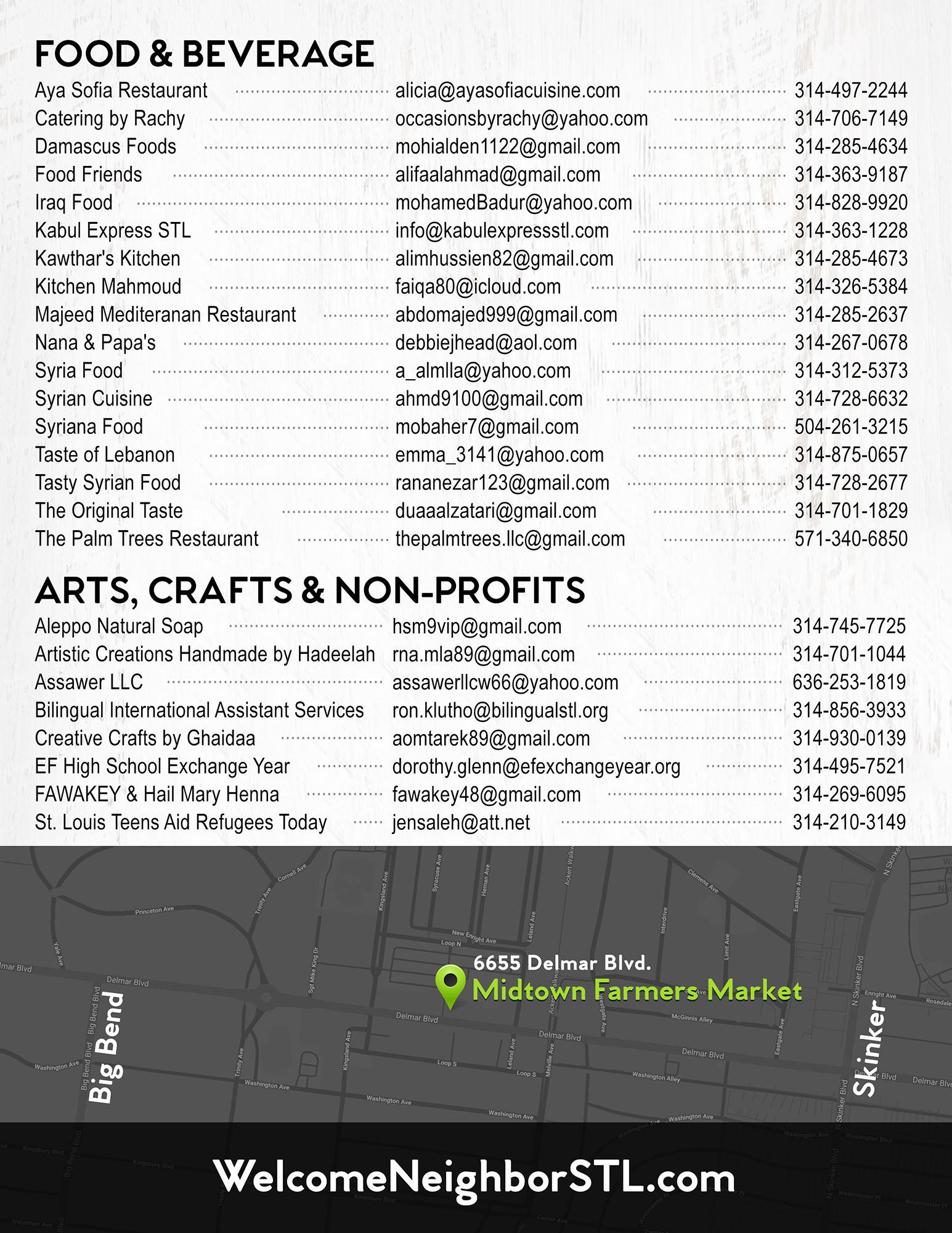 Festival Guide Vendor List
