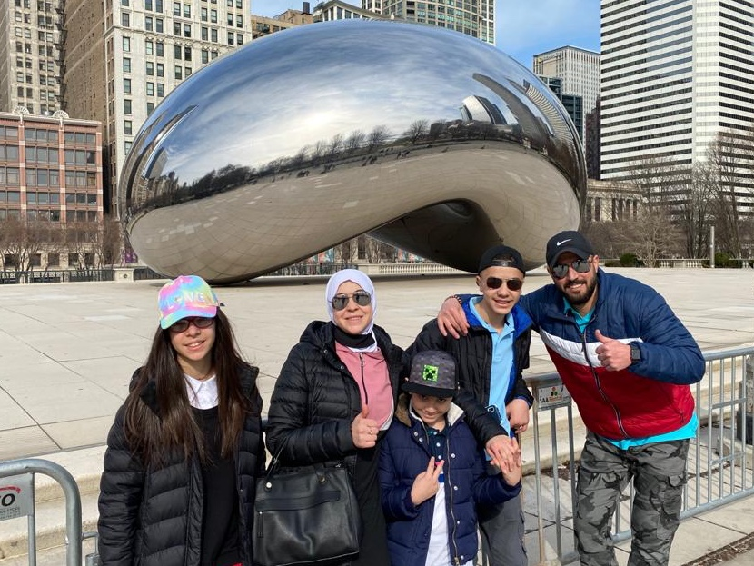 Yasser & Lina with family in Chicago